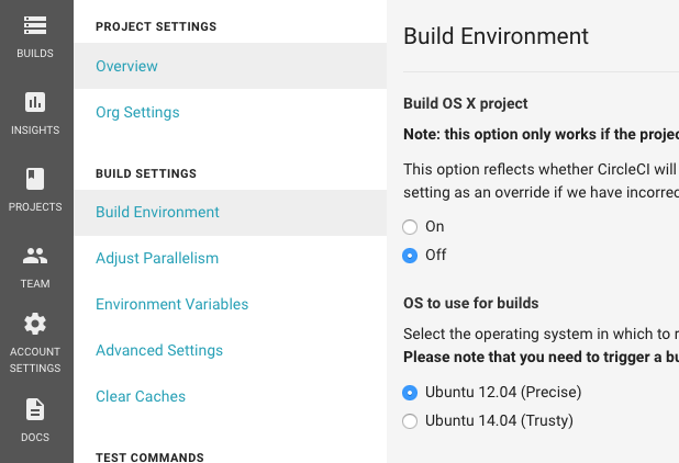 Project settings build environment circleci image