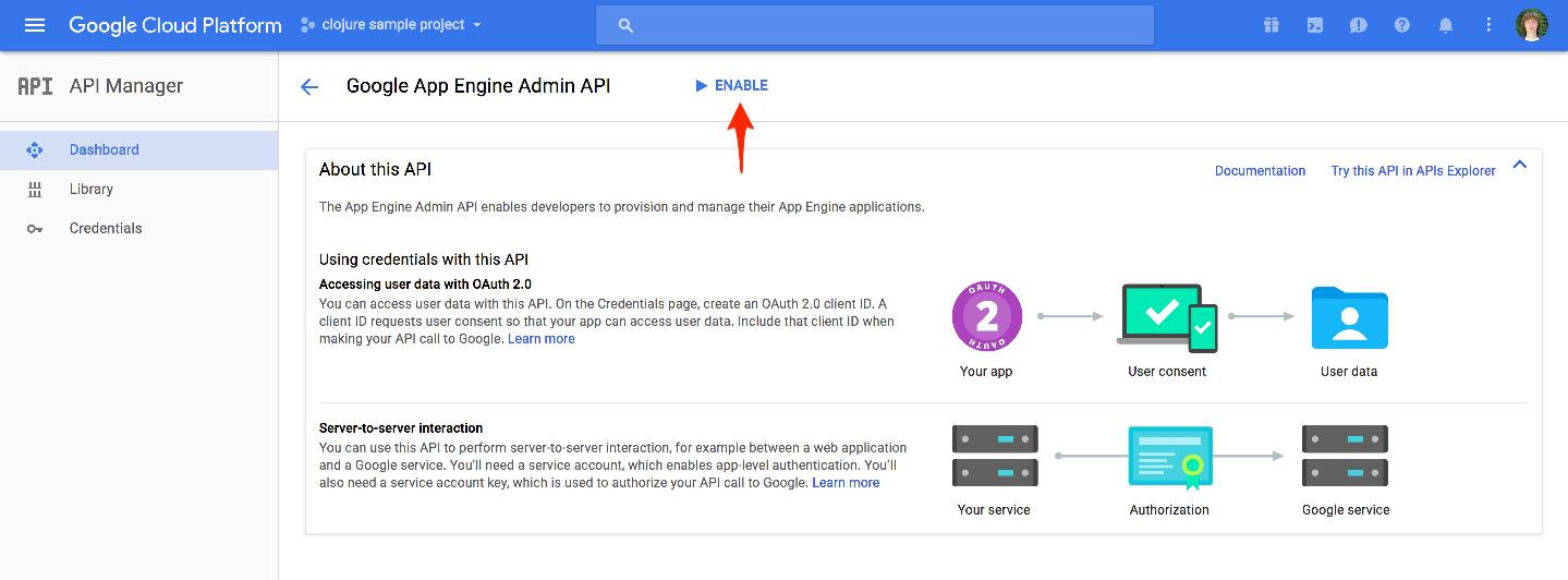 Enabling Google App Engine Admin API
