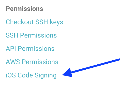 The code signing section in the project settings