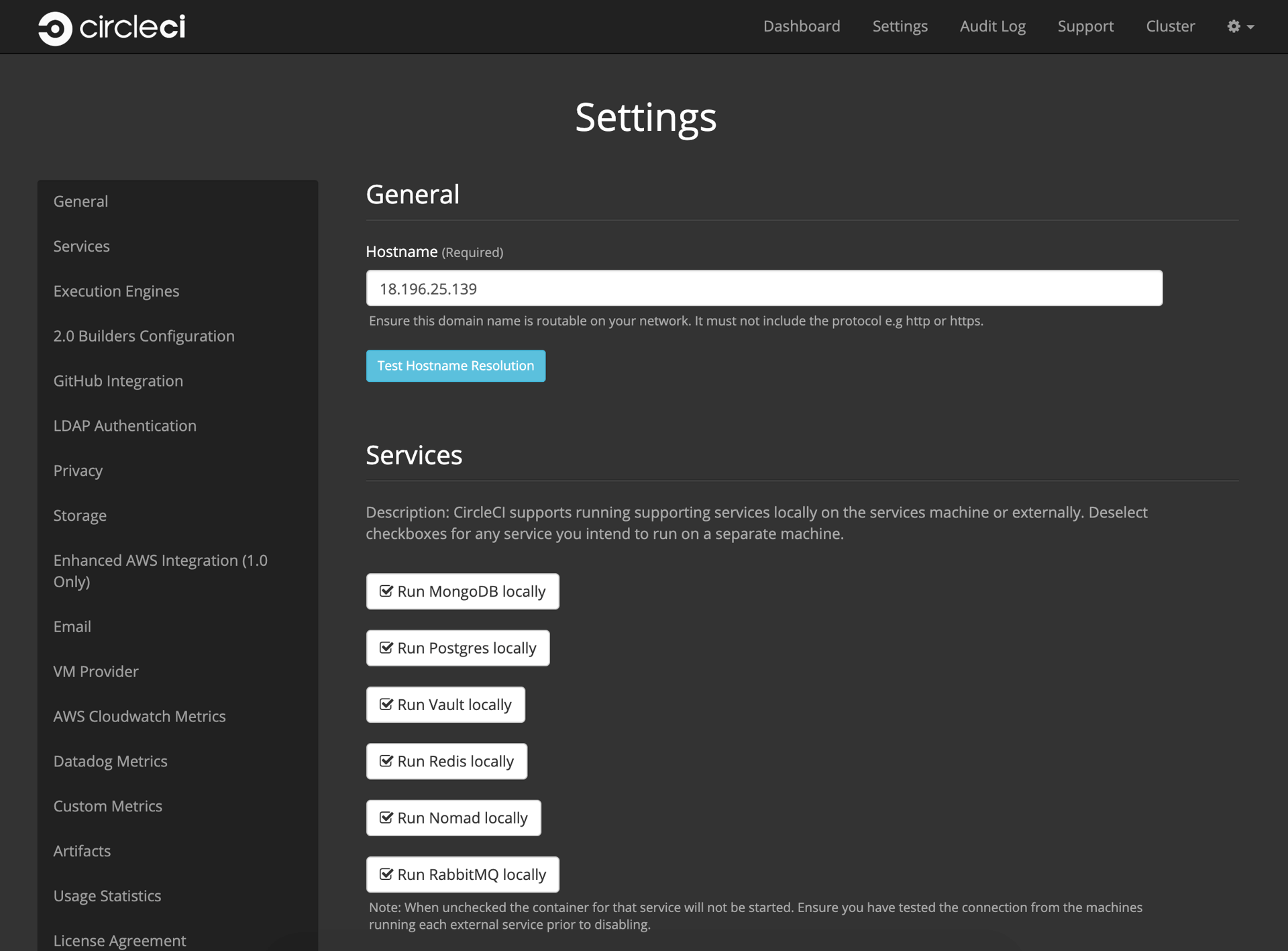 Hostname and Services Settings