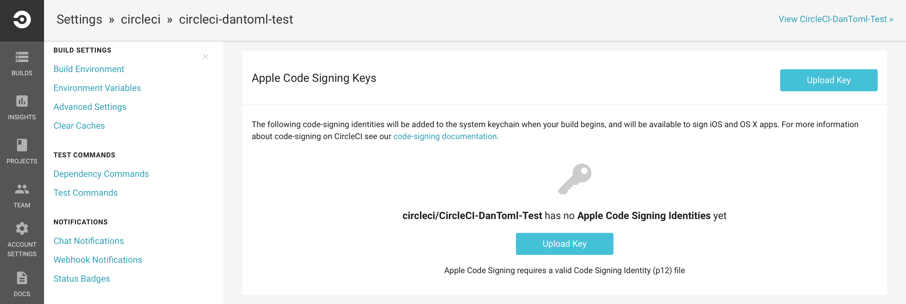 The CircleCI Project Settings, iOS Code Signing page