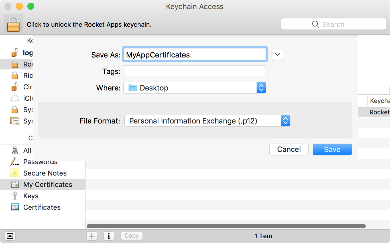 The Keychain Access.app Export dialogue