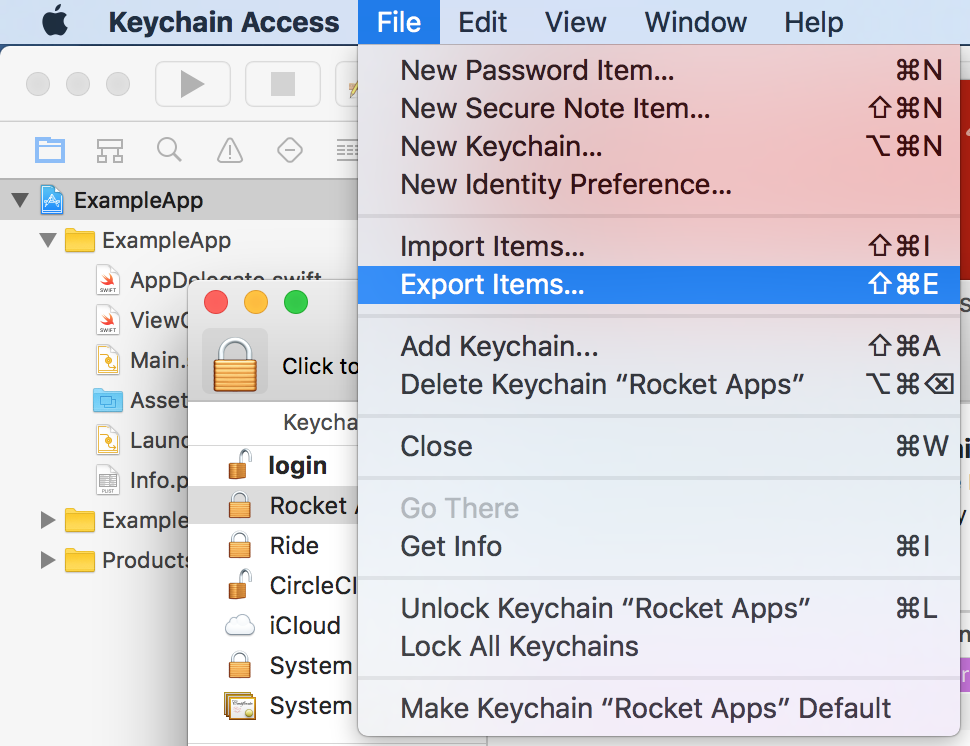 The Keychain Access.app file menu with Export Items in a hover state