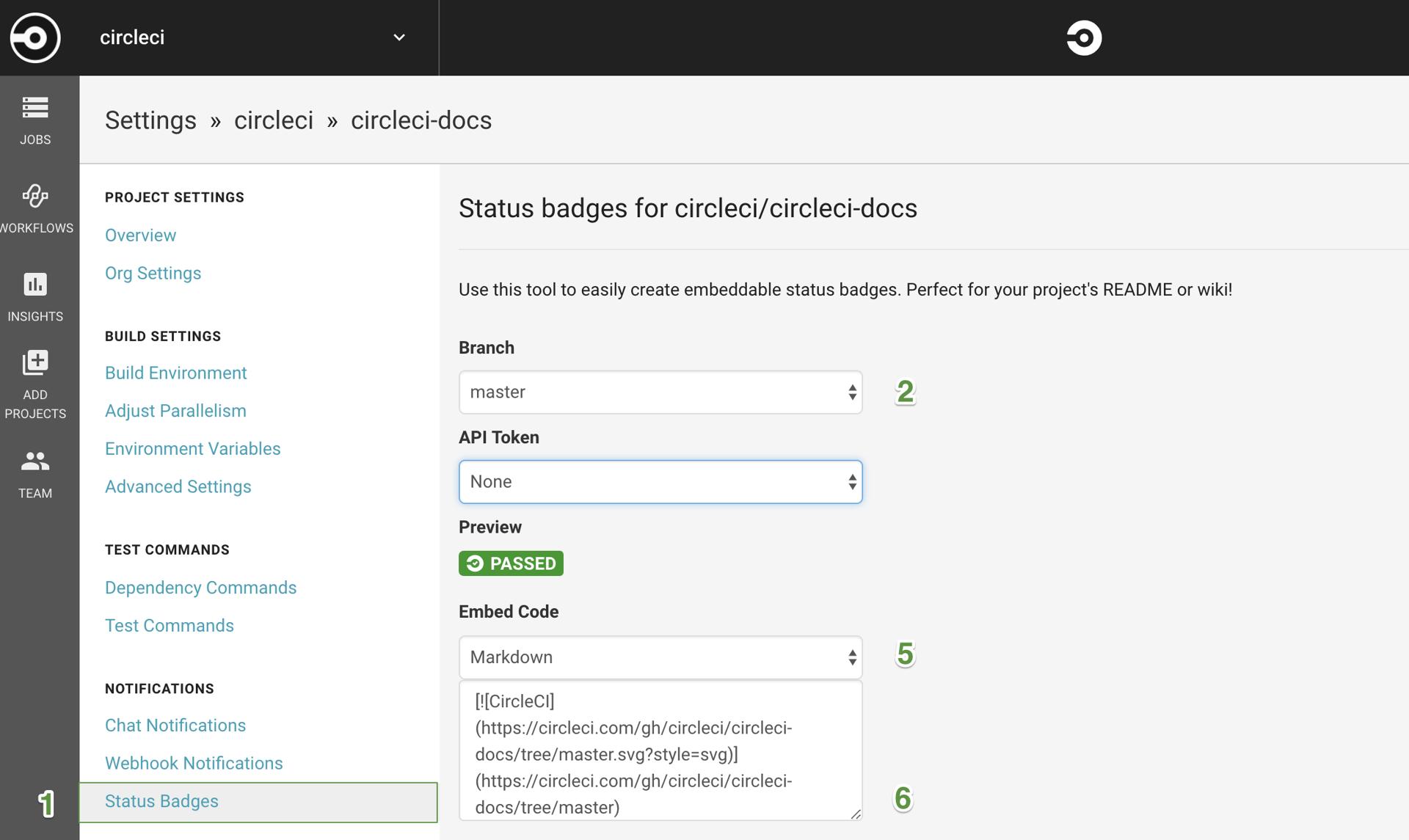 Adding Status Badges - CircleCI